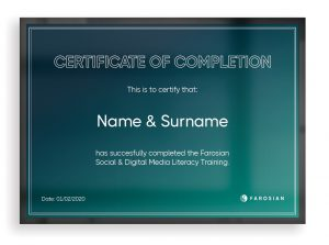 Farosian Social Media Literacy Training Course Certificate of Completion